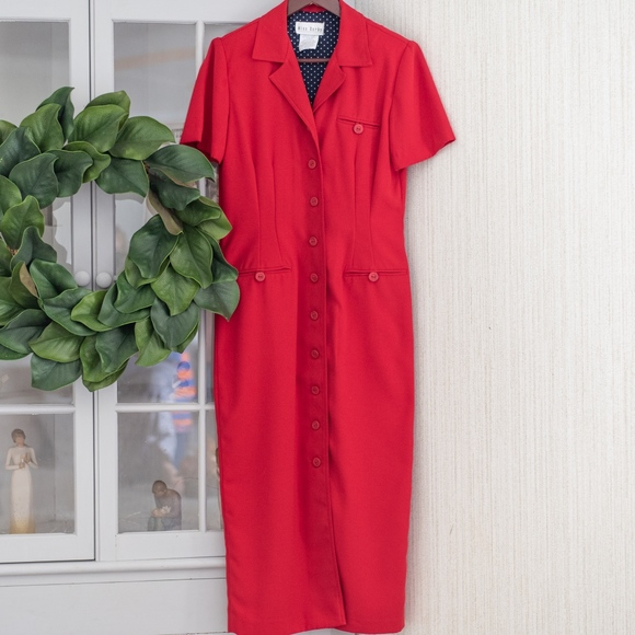 Miss Dorby Dresses & Skirts - Vintage Red Button Down Maxi Dress